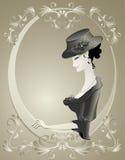 Ретро девушка в шлеме с цветками в рамке   иллюстрация штока