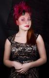 Ретро девушка с крышкой burgundy Стоковое Изображение