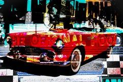 РЕТРО дизайн автомобиля на американском обедающем иллюстрация вектора