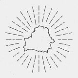 Ретро дизайн битника Sunburst Карта Беларуси Стоковое Изображение RF