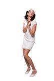 Ретро девушка в белом платье Стоковые Фотографии RF