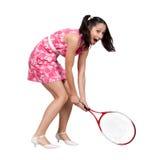 Ретро девушка в розовом платье Стоковая Фотография