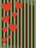 Ретро день валентинки картины, парящие сердца стоковое изображение rf