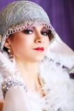 Ретро женщина стиля язычка стоковая фотография rf