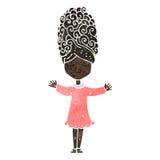 ретро женщина шаржа с большими волосами Стоковые Фотографии RF