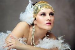 Ретро женщина язычка стоковое фото rf
