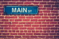 Ретро знак главной улицы Стоковые Изображения