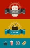 Ретро знамена кинемотографии с дизайном значков плоским иллюстрация вектора