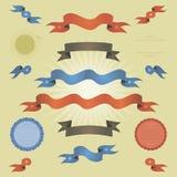 Ретро знамена, тесемки и флаги сбора винограда Стоковое Изображение