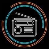 Ретро значок радио - средства массовой информации и символ музыки иллюстрация вектора