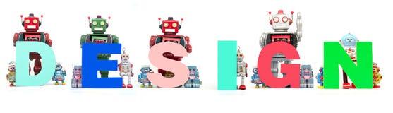Ретро игрушки робота олова задерживают слово ДИЗАЙН стоковые фото