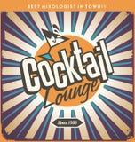 Ретро дизайн знака олова для коктейль-бара Стоковое Изображение