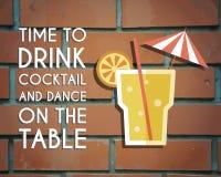 Ретро дизайн плаката для бара коктейль-бара Стоковое Изображение
