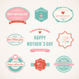 Ретро дизайн ярлыка дня матерей установленный