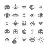 Ретро изолированный видеоигрой комплект изверга пиксела, вектор иллюстрация вектора