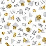 Ретро линия картины Мемфиса геометрическая форм безшовные Стоковое Фото