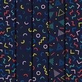 Ретро линия установленные картины Мемфиса геометрическая форм безшовные Мода 80-90s битника Абстрактные текстуры беспорядка Черно Стоковые Фото