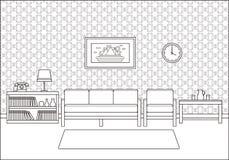 Ретро интерьер комнаты в линии дизайне искусства плоском также вектор иллюстрации притяжки corel Стоковое Фото