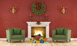 Ретро интерьер рождества с камином Стоковые Фото