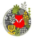 Ретро лиса и печать цветков. иллюстрация вектора
