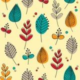 Ретро листья и цветки Стоковое Изображение RF