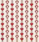 Ретро и год сбора винограда ввел картину в моду сердца и нашивки с приглушенными цветами краснокоричневыми и белыми Стоковая Фотография RF