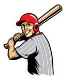Ретро иллюстрация бейсбола готовая для того чтобы ударить шарик Стоковое Изображение RF
