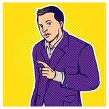 Ретро иллюстрация бизнесмена стиля искусства шипучки шуточная иллюстрация штока