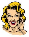 Ретро иллюстрация красивой стороны женщины Стоковые Фото