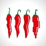 Ретро иллюстрация перцев красного chili Стоковая Фотография