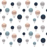 Ретро картина воздушных шаров безшовная, красочная иллюстрация вектора, готовая для использования дизайна для различных поверхнос Стоковое Изображение