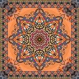 Ретро картина с красивой мандалой цветка и рамка зигзага орнаментальная на яркой оранжевой предпосылке Безшовная печать для ткани иллюстрация вектора