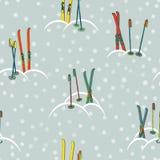Ретро картина лыжи Стоковая Фотография
