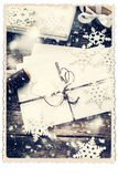 Ретро карточка изолированная на белизне Письмо украшенное с снежинкой Стоковое Изображение