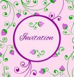 Ретро карточка приглашения стиля с виноградинами притяжки руки. Стоковое Фото