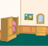 Ретро комната с шкафом Стоковое Изображение