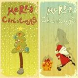 Ретро комплект рождественской открытки иллюстрация штока