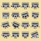 Ретро комплект emoji характера радио Стоковая Фотография