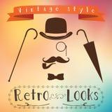 Ретро комплект элементов джентльмена - подающий, усик, monocle трубы табака, тросточка и зонтик иллюстрация штока