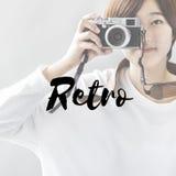 Ретро концепция фотографа камеры стиля Стоковые Изображения RF