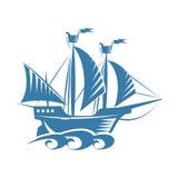 Ретро корабль Иллюстрация штока