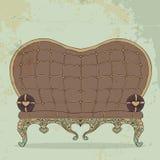 Ретро коричневая кожаная софа в форме сердц Стоковые Изображения RF