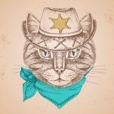 Ретро кот животного битника Намордник чертежа руки кота иллюстрация штока