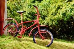Ретро красная автостоянка велосипеда на поле Стоковое фото RF