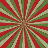Ретро красная и зеленая предпосылка sunburst в цветах рождества с радиальной striped картиной бесплатная иллюстрация