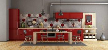 Ретро красная кухня с деревянным обеденным столом бесплатная иллюстрация