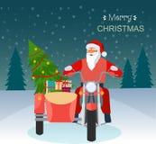 Ретро красный мотоцикл с Санта Клаусом, рождественской елкой и подарочными коробками рождество веселое иллюстрация вектора