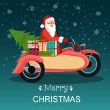 Ретро красный мотоцикл с Санта Клаусом, рождественской елкой и подарочными коробками рождество веселое иллюстрация штока