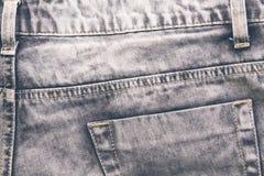 Ретро крупный план джинсов Предпосылка фото текстуры джинсовой ткани Джинсовая ткань джинсов Boho Стоковая Фотография