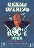 Ретро клуб караоке, плакат студии аудио рекордный с затрапезным логотипом музыки с микрофоном и звезда на текстуре grunge Стоковое Изображение